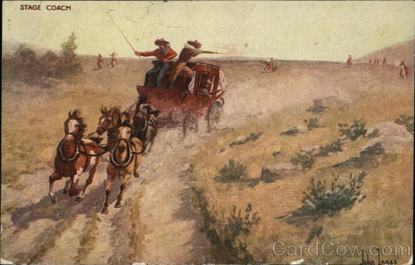 Horse and Stage Coach Being Chased John Innes Cowboy Western