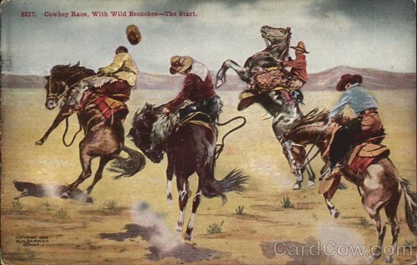 Cowboy Race, With Wild Bronchos - the Start Cowboy Western
