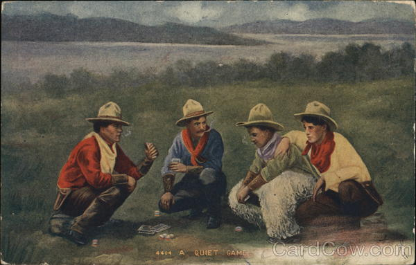 A Quiet Game - Four Cowboys Playing Cards in Field