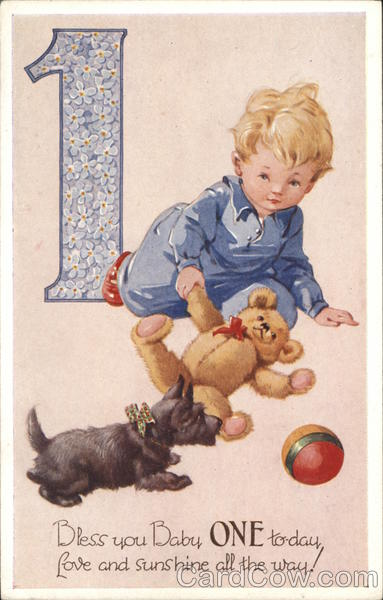 Boy with Teddy Bear, Dog & Ball Birthday