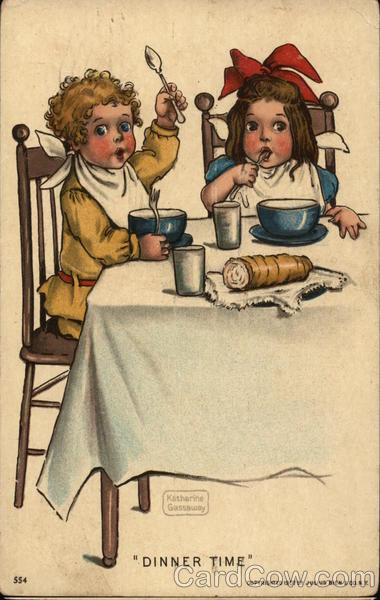 Dinner Time - Two Young Children Eating Dinner Katherine Gassaway