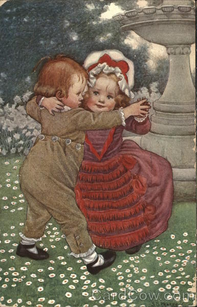 Boy and Girl Dancing in a Field Children