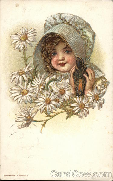 A Girl with a Bonnet and Daisies Girls