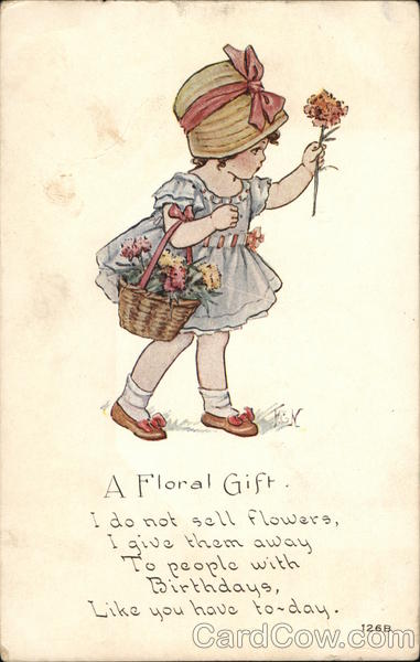A Floral Gift - Girl with Basket of Flowers Girls