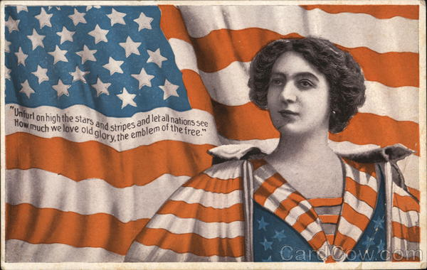 Liberty Woman with Flag in Background Patriotic