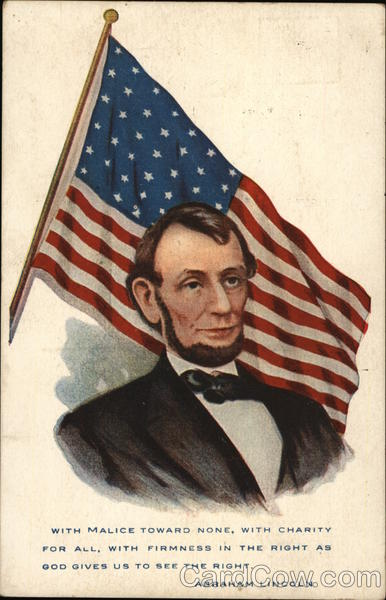 Abraham Lincoln Portrait with Flag Presidents
