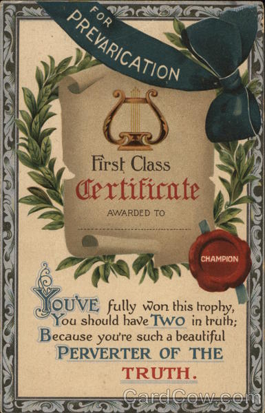 For Prevarication, First Class Certificate Awarded To: