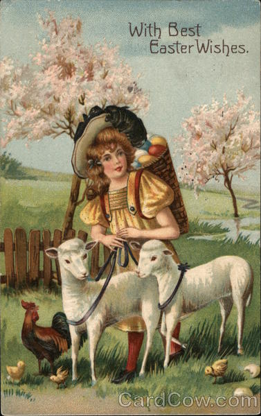 A Women with Sheep, Chickens, and Chicks With Lambs