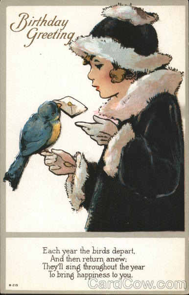 Birthday Greeting - Bird On Girl's Finger Delivering Card