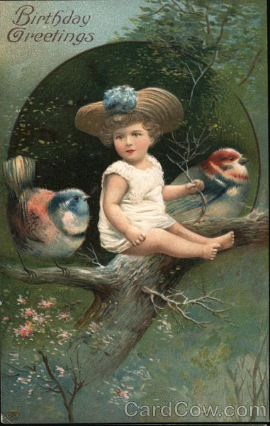 Birthday Greetings - Child Sitting on Branch with Bird on Each Side
