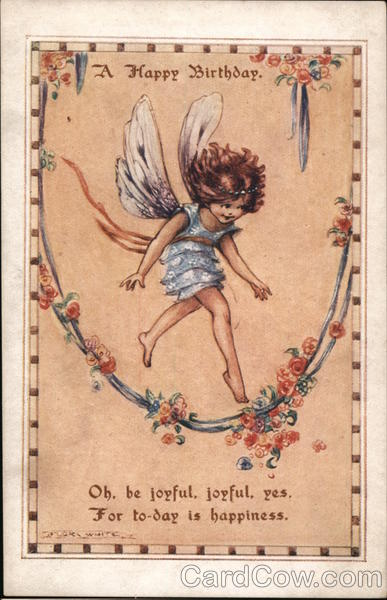A Happy Birthday - Fairy Stepping Over Flowered Vine