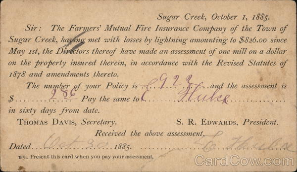 Farmers Mutual Insurance Co. Notice of Assessment Advertising