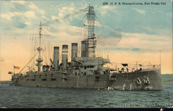 A Picture of the U.S. S. Pennsylvania at Sea Military