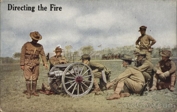 Directing The Fire - Seven Soldiers Practicing Cannon
