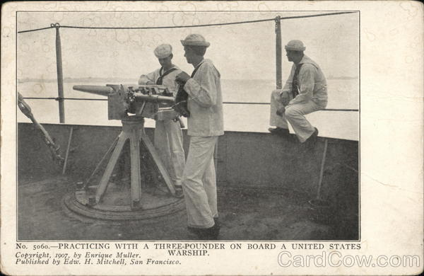 Practicing With a Three-Pounder On Board a United States Warship