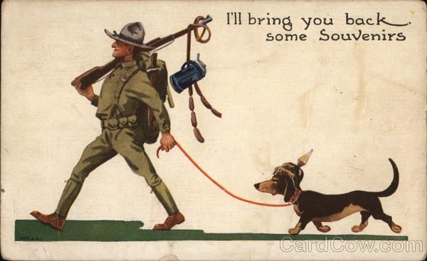 I'll Bring You Back Some Souvenirs - Soldier Leading Daschund