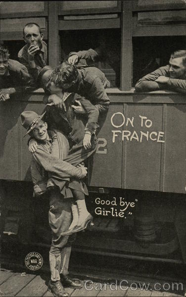 On To France - People Saying Goodbye on a Train Underwood & Underwood