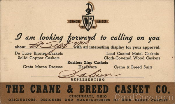 The Crane & Breed Casket Co. Cincinnati Ohio Advertising