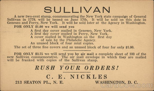 General Sullivan Commemorative Stamps Advertising
