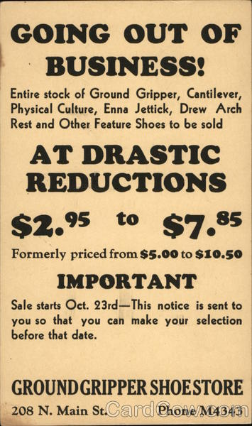 Advertisement for Ground Gripper Shoestore Advertising