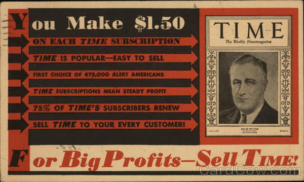 Advertisement for Vendors to Sell Time Magazine Advertising