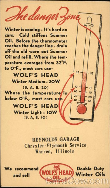 Advertisement for Wolf's Head Motor Oil Advertising