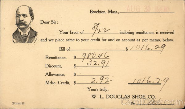 Correspondence Card from W. L. Douglas Shoe Co. Acknowledging Receipt