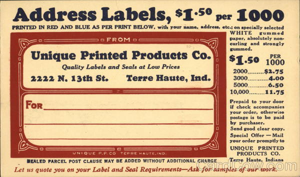 Unique Printed Products Co. Advertising