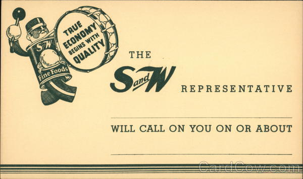Correspondence Card from S and W Fine Foods Co. Advertising