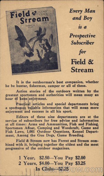 Advertisement for Field & Stream Magazine Advertising