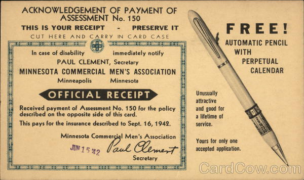 Acknowledgement of Paymwent of Assessment No. 150 Advertising