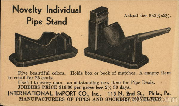 Advertisement for Novelty Individdual Pipe Stand Advertising