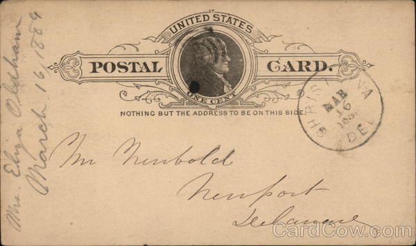 Blank United States One Cent Postal Card Postal Cards