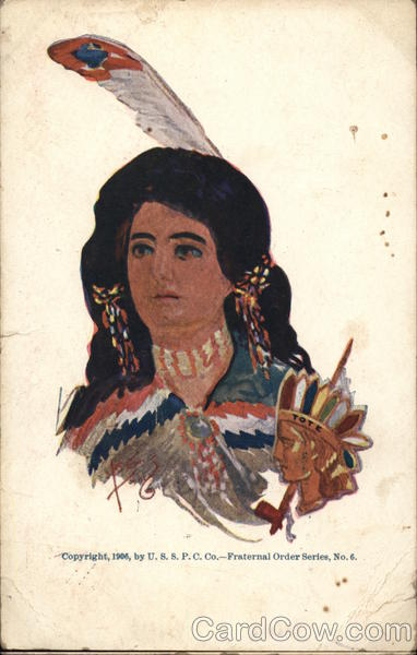 Indian Women with a Feather in her Hair Native Americana