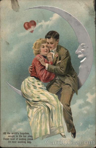 A Young Couple Sitting on the Moon Romance & Love