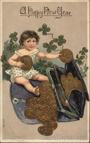 A Happy New Year - Child with Coins Spilling From Purse