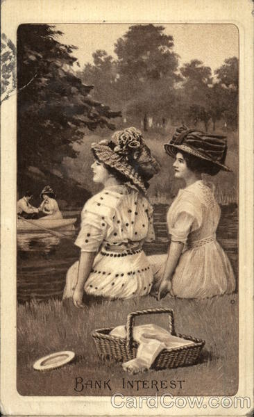 Bank Interest -Two Women Sitting On Riverbank