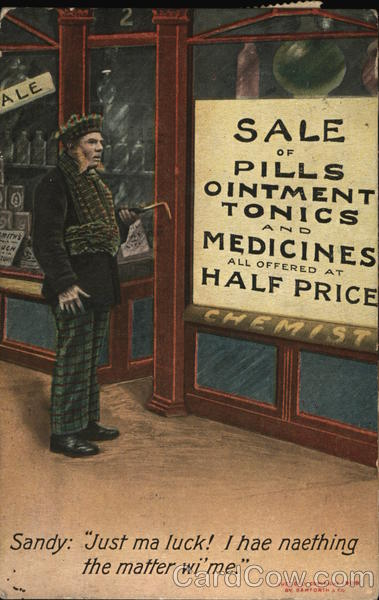 Man Reading Sign Advertising Half Price Pills and Medicines