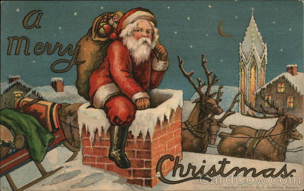 A Merry Christmas - Santa With Toys Climbing Down Chimney