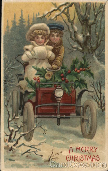 A Couple Riding a Car in the Snow Christmas
