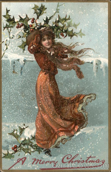 A Woman Standing in the Snow Christmas