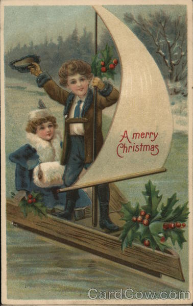 A Merry Christmas - Children on Makeshift Sailboat