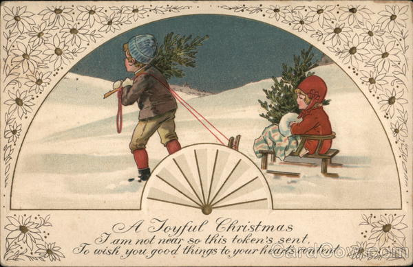 A Joyful Christmas - Boy Pulling Girl On Sled Children