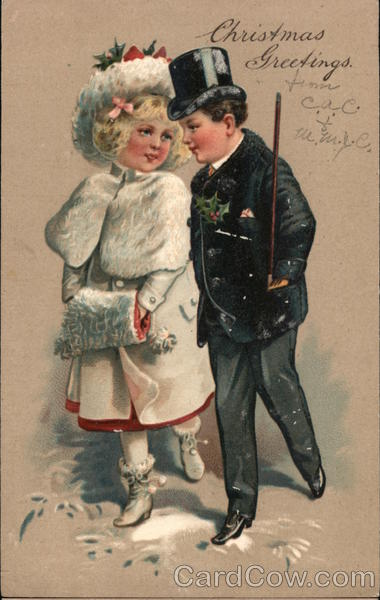 Christmas Greetings -Man and Woman Walking