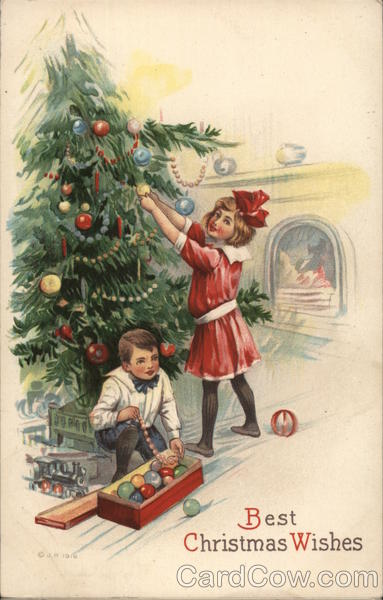 Boy and Girl Decorating Christmas Tree Children