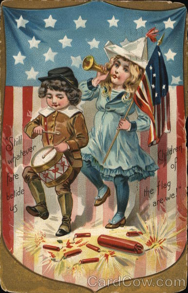 Boy & Girl March with Drum & Horn, Flag Background