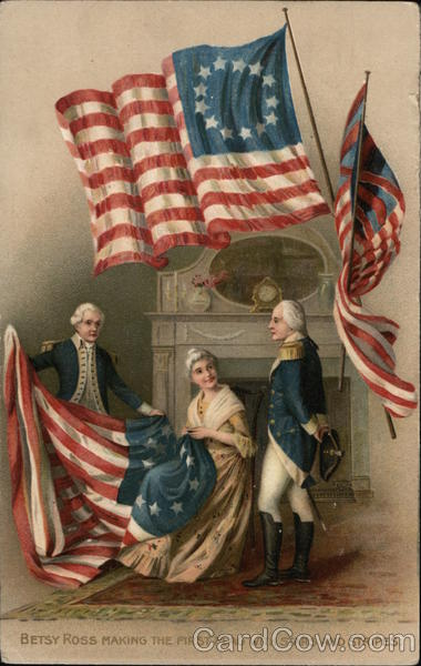 Betsy Ross Making The First Flag With Stars And Stripes
