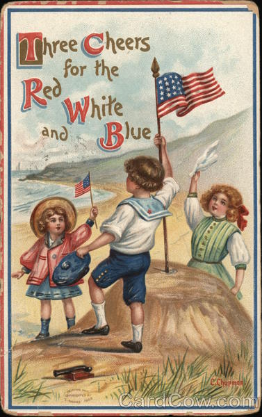 Children Holding the American Flag Patriotic
