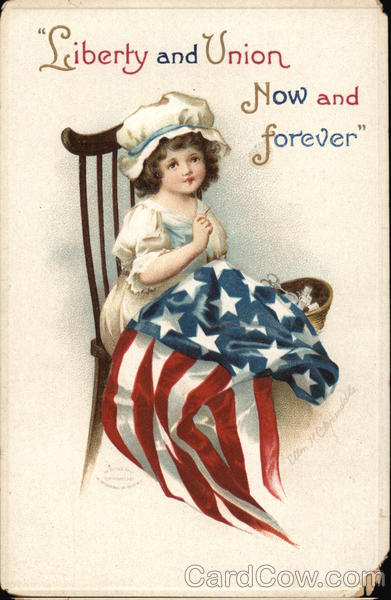 Liberty and Union Now and Forever - Girl in Chair Sewing Flag
