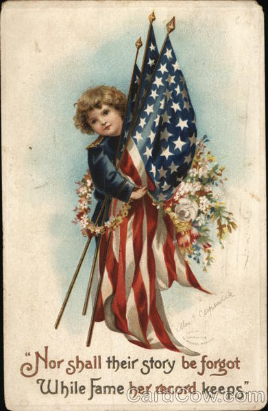 A Young Boy Holding American Flags Ellen Clapsaddle